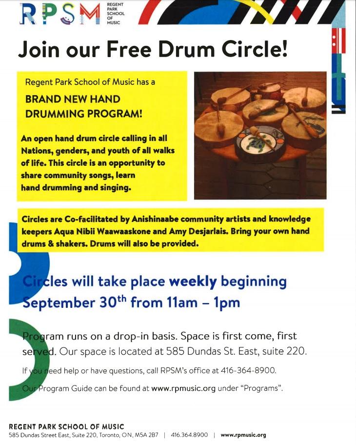 Free drum circle event Sept 30, 2018